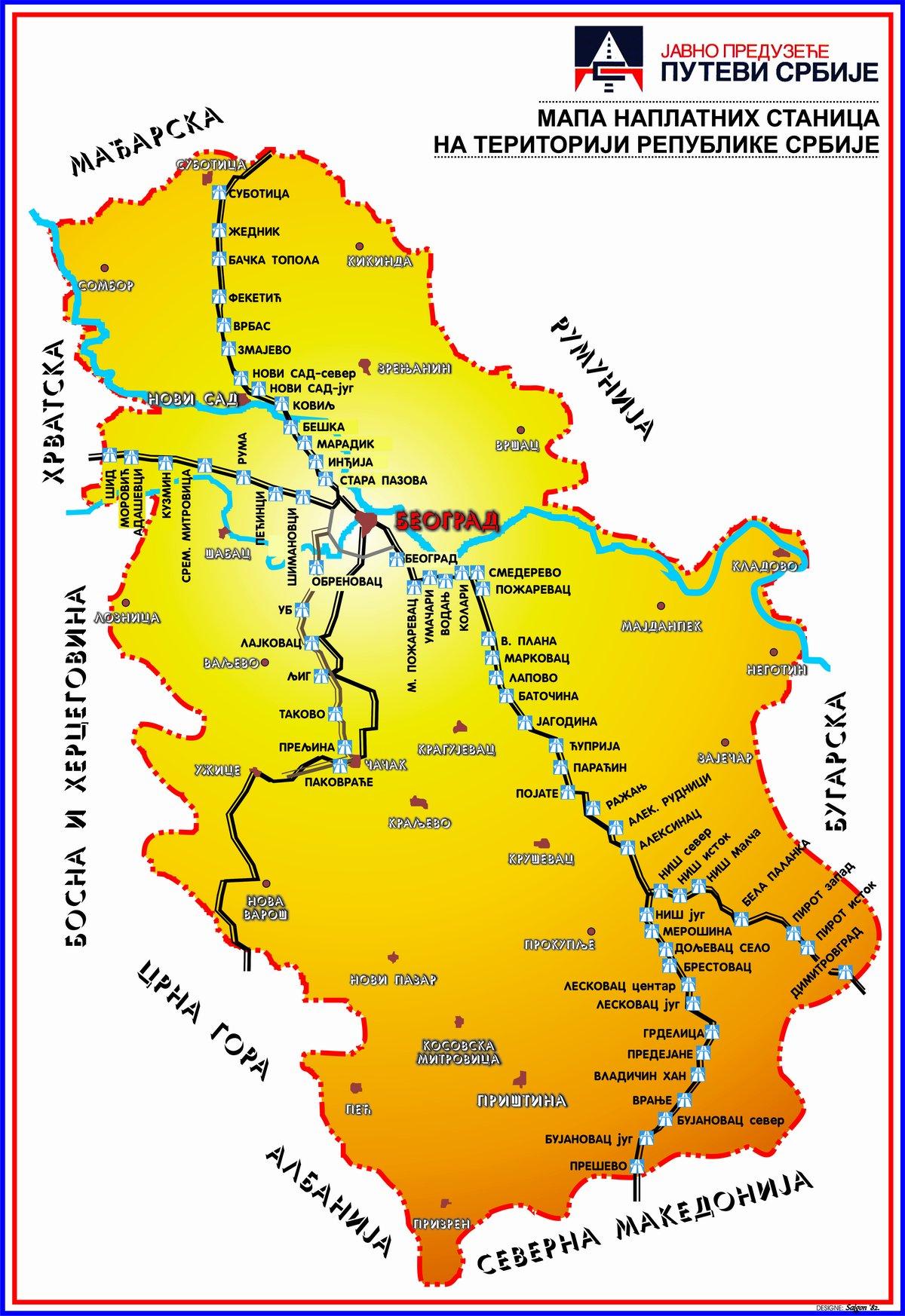 Mapa Naplatnih Stanica јp Putevi Srbiјe