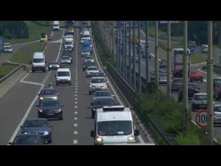 Traffic on motorway passing through Belgrade