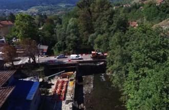 Radovi na sanaciji mosta na putu I B reda br. 22 u Ušću, preko reke Studenice